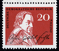 0049601 © Granger - Historical Picture ArchiveJOHANN GOTTLIEB FICHTE   (1762-1814). German philosopher. On an East German postage stamp, 1962.