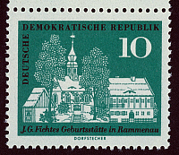 0061208 © Granger - Historical Picture ArchiveJOHANN GOTTLIEB FICHTE   (1762-1814). German philosopher. Fichte's birthplace in Rammenau, Saxony, on an East German postage stamp, 1962.