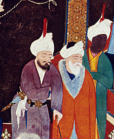 0022597 © Granger - Historical Picture ArchiveFIRDAUSI (c940-c1020).   Persian poet. Detail from a manuscript illumination, c1535, by Mirza Ali for Firdausi's 'Shah Namah,' depicting Firdausi at far left.