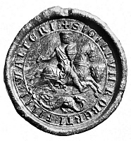 0068608 © Granger - Historical Picture ArchiveFITZWALTER'S SEAL.   Seal of Robert Fitzwalter (1198-1234), English nobleman and leader of the barons in their opposition to King John.
