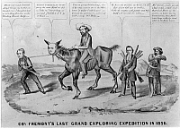 0003947 © Granger - Historical Picture ArchivePRESIDENTIAL CAMPAIGN, 1856.   A lithograph cartoon by Currier & Ives: W.H. Seward leads Fremont's 'Abolition Nag', which has the head of Horace Greeley; Henry Ward Beecher carries rifles (Beecher's 'Bibles').
