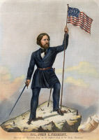 0008312 © Granger - Historical Picture ArchiveJOHN C. FREMONT   (1813-1890). American explorer, Army officer, and politician. Colored lithograph published in 1856 for the benefit of Fremont's presidential campaign.