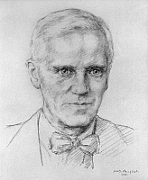 0020504 © Granger - Historical Picture ArchiveSIR ALEXANDER FLEMING   (1881-1955). Scottish bacteriologist. Pencil, 1944, by Helen McDougall Campbell.