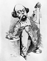 0109056 © Granger - Historical Picture ArchiveGUSTAVE FLAUBERT (1821-1880).   French novelist. Caricature by Achille Lemot of Flaubert dissecting Madame Bovary, 1869.