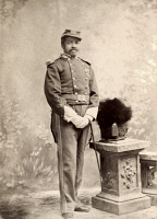 0528896 © Granger - Historical Picture ArchiveCHRISTIAN FLEETWOOD   (1840-1914). American soldier; awarded the Medal of Honor for his service during the Civil War. Photographed in the 1870s, with ceremonial helmet placed on pedestal.