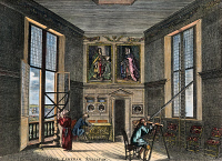 0008270 © Granger - Historical Picture ArchiveJOHN FLAMSTEED, c1700.   Royal astronomer John Flamsteed, his one paid assistant, and friend, Marsh, in the old observing room at the Greenwich Observatory, England. English color engraving, c1700.