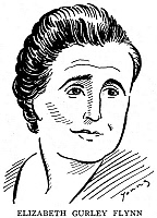 0030709 © Granger - Historical Picture ArchiveELIZABETH GURLEY FLYNN   (1890-1964). American labor leader. Drawing by Art Young.