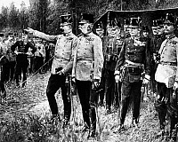0126539 © Granger - Historical Picture ArchiveFRANZ FERDINAND   (1863-1914). Archduke of Austria. Ferdinand (left) with his brother, Franz Joseph I, and generals, shortly before Franz Ferdinand's assassination, 1914. Contemporary painting.