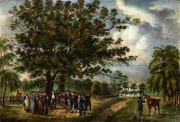 0008109 © Granger - Historical Picture ArchiveGEORGE FOX (1624-1691).   Preaching the Quaker Gospel under the oak trees of Flushing, New York. Color lithograph, c1819.