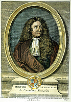 0009116 © Granger - Historical Picture ArchiveJEAN DE LA FONTAINE   (1621-1695). French colored engraving, 1777.
