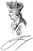 0004023 © Granger - Historical Picture ArchiveFREDERICK II (1712-1786).   Frederick the Great; King of Prussia, 1740-1786. Drawing by Daniel Chodowiecki (1726-1801).