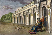 0009065 © Granger - Historical Picture ArchiveFREDERICK II (THE GREAT).   King of Prussia, in his declining years watching the setting sun from the terrace of Sans Souci, his palace near Potsdam: German colored engraving, 18th century.