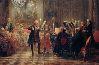 0023902 © Granger - Historical Picture ArchiveFREDERICK II (1712-1786).   Known as Frederick the Great. King of Prussia, 1740-1786. Playing the flute at Sans Souci. Oil on canvas (detail) by Adolph von Menzel.