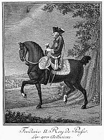 0034496 © Granger - Historical Picture ArchiveFREDERICK II (1712-1786).   Known as Frederick the Great. King of Prussia, 1740-1786. Line engraving, French, 18th century.