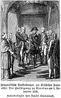 0068903 © Granger - Historical Picture ArchiveFREDERICK II (1712-1786).   Frederick the Great; King of Prussia, 1740-1786. Frederick the Great with his ministers. Line engraving after Daniel Chodowiecki.