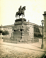 0071148 © Granger - Historical Picture ArchiveFREDERICK II (1712-1786).   Known as Frederick the Great. King of Prussia, 1740-1786. Bronze equestrian statue on Unter den Linden in Berlin, completed in 1851 by Christian Daniel Rauch. Photographed c1900.