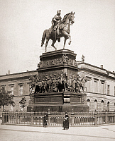 0093941 © Granger - Historical Picture ArchiveFREDERICK II (1712-1786).   Known as Frederick the Great. King of Prussia, 1740-1786. Bronze equestrian statue on Unter den Linden in Berlin, completed in 1851 by Christian Daniel Rauch. Photographed c1900.