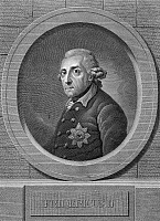 0118398 © Granger - Historical Picture ArchiveFREDERICK II (1712-1786).   Known as Frederick the Great. King of Prussia, 1740-1786. Copper engraving, German, 1787.