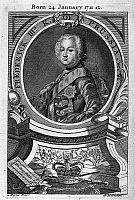 0118399 © Granger - Historical Picture ArchiveFREDERICK II (1712-1786).   Known as Frederick the Great. King of Prussia, 1740-1786. Copper engraving, English, 18th century, after a painting by Antoine Pesne.