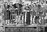 0004160 © Granger - Historical Picture ArchiveCROY TAPESTRY, c1550.   From left to right: Frederick III (the Wise), Elector of Saxony; his brother, John the Constant; John the Constant's son, John Frederick the Magnanimous. Detail of a tapestry.