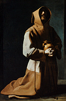 0033508 © Granger - Historical Picture ArchiveST FRANCIS OF ASSISI   (1182-1226). Italian friar and preacher. 'St. Francis in Meditation.' Oil on canvas, 1635-39, by Francisco de Zurbaran.