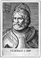 0005490 © Granger - Historical Picture ArchiveFREDERICK I (1123?-1190).   Known as Frederick Barbarossa. Holy Roman Emperor, 1152-1190. Line engraving, Italian, 17th century.