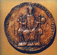 0020877 © Granger - Historical Picture ArchiveFREDERICK I (1123?-1190).   Known as Frederick Barbarosa. Holy Roman Emperor, 1152-1190. The imperial seal of Frederick Barbarossa.