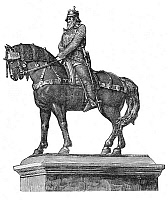 0033213 © Granger - Historical Picture ArchiveFREDERICK I (1123?-1190).   Known as Frederick Barbarossa. Holy Roman Emperor, 1152-1190. Wood engraving of an equestrian statue, 19th century.