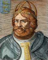0053445 © Granger - Historical Picture ArchiveFREDERICK I (1123?-1190).   Known as Frederick Barbarosa. Holy Roman Emperor, 1152-1190. Line engraving, Italian, 17th century.