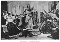0064710 © Granger - Historical Picture ArchiveFREDERICK I (1123?-1190).   Known as Frederick Barbarossa. Holy Roman Emperor, 1152-1190. Frederick saves the papal legate from angry nobles while holding court at Besancon in 1157.