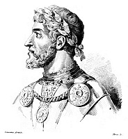 0266928 © Granger - Historical Picture ArchiveFREDERICK I (1123?-1190).   Known as Frederick Barbarossa. Holy Roman Emperor, 1152-1190. Steel engraving, French, 1838, after a drawing by Augustin François Lemaître.