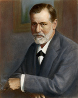 0009762 © Granger - Historical Picture ArchiveSIGMUND FREUD (1856-1939).   Austrian neurologist and founder of psychoanalysis. Oil over a photograph, 1909.