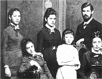 0035456 © Granger - Historical Picture ArchiveSIGMUND FREUD (1856-1939).   Austrian neurologist and founder of psychoanalysis. A family portrait of 1876 with, from left, Freud's sister Paula, his sister Adolfine (seated), his sister Anna, unidentified girl, Freud at age 20, and his mother Amalie.