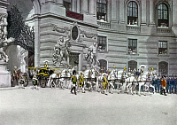 0126525 © Granger - Historical Picture ArchiveFRANCIS JOSEPH I   (1830-1916). Emperor of Austria, 1848-1916. Francis Joseph leaving Hofburg Palace on his silver wedding anniversary, 1879. Watercolor by Alexander Pock, 1910.