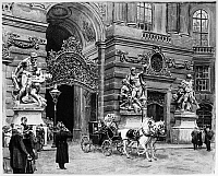 0165791 © Granger - Historical Picture ArchiveFRANCIS JOSEPH I   (1830-1916). Emperor of Austria, 1848-1916. Francis Joseph's coach departing from St. Michael's Wing of the Hofburg Palace in Vienna. Watercolor, 1914, by Ernst Graner.