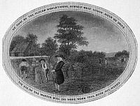 0003601 © Granger - Historical Picture ArchivePOOR RICHARD ILLUSTRATED.   Panel from an engraving, c1800, for Benjamin Franklin's 'Poor Richard Illustrated,' with the motto 'He That By The Plough Would Thrive, Himself Must Either Hold Or Drive.'