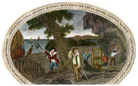0008217 © Granger - Historical Picture ArchivePOOR RICHARD ILLUSTRATED.   Panel from a color engraving, c1800, for Benjamin Franklin's publication with the motto 'Handle Your Tools Without Mittens; Remember, the Cat in Gloves Catches No Mice.'