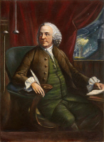 0009563 © Granger - Historical Picture ArchiveBENJAMIN FRANKLIN (1706-1790).   American printer, publisher, scientist, inventor, statesman and diplomat. Franklin and his lightning detector: English mezzotint by Edward Fisher, 1763.