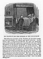 0031080 © Granger - Historical Picture ArchiveFRANKLIN: DEATHBED, 1790.   Benjamin Franklin (1706-1790), American printer, publisher, scientist, inventor, statesman and diplomat, looking upon a crucifixion scene from his deathbed, 1790. Wood engraving, American, c1850.