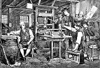 0040195 © Granger - Historical Picture ArchiveBENJAMIN FRANKLIN (1706-1790).   American printer, publisher, scientist, inventor, statesman and diplomat. Benjamin Franklin in Watt's Printing Office, Great Queen Street, London. Wood engraving after a painting by Eyre Crowe (English School, 19th century).
