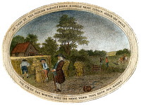 0041156 © Granger - Historical Picture ArchivePOOR RICHARD ILLUSTRATED.   Panel from an engraving, c1800, for Benjamin Franklin's publication, with the motto 'He That By The Plough Would Thrive, Himself Must Either Hold Or Drive.'