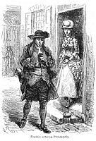 0067211 © Granger - Historical Picture ArchiveBENJAMIN FRANKLIN (1706-1790).   American printer, publisher, scientist, inventor, statesman and diplomat. Franklin entering Philadelphia, Pennsylvania, in 1723, eating a roll on Market Street and passing his future wife, Deborah Read Rogers. Wood engraving, 19th century.