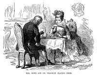 0067212 © Granger - Historical Picture ArchiveBENJAMIN FRANKLIN (1706-1790).   American printer, publisher, scientist, inventor, statesman and diplomat. Benjamin Franklin playing Chess with Mrs. Howe in London, December 1774. Wood engraving, 19th century.