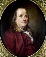 0102891 © Granger - Historical Picture ArchiveBENJAMIN FRANKLIN (1706-1790).   American printer, publisher, scientist, inventor, statesman and diplomat. Oil on canvas, c1785, after Joseph Siffred Duplessis, first owned by Thomas Jefferson.