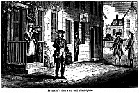 0109155 © Granger - Historical Picture ArchiveBENJAMIN FRANKLIN (1706-1790).   American printer, publisher, scientist, inventor, statesman and diplomat. Franklin passing by Deborah Read's door during his first visit to Philadelphia in 1723. Wood engraving, American, 1848.