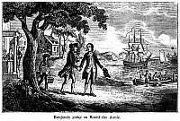 0109181 © Granger - Historical Picture ArchiveBENJAMIN FRANKLIN   (1706-1790). American printer, publisher, scientist, inventor, statesman and diplomat. Franklin's departure for London on board the ship, 'Annis,' 1724. Wood engraving, American, 1848.