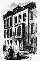 0109513 © Granger - Historical Picture ArchiveBENJAMIN FRANKLIN (1706-1790).   American printer, publisher, scientist, inventor, statesman and diplomat. Franklin's residence in 1760 at 7 Craven Street in London. Wood engraving, 19th century.