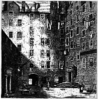 0109611 © Granger - Historical Picture ArchiveFRANKLIN: RESIDENCE, 1759.   Mylne Square, the residence of Benjamin Franklin in Edinburgh in 1759. Wood engraving.