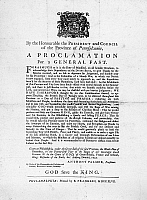 0109869 © Granger - Historical Picture ArchiveFRANKLIN: BROADSIDE, 1747.   Broadside written and printed by Benjamin Franklin, 1747, proclaiming a general fast in an effort to unite the people of Philadelphia in self-defense.