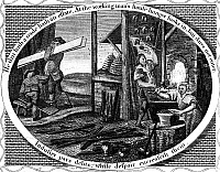 0131470 © Granger - Historical Picture ArchivePOOR RICHARD ILLUSTRATED.   Panel from an engraving, c1800, for Benjamin Franklin's publication, with the motto 'He that hath a trade hath an estate.'
